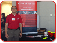 Jack Poole and Brandon Wilkerson attended the 2015 Oklahoma State University career fair to recruit students of OSU's Fire Protection and Safety Engineering Technology program.